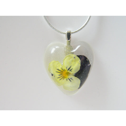 Pressed Flower Jewelry, Viola Necklace, Heart Necklace, Real Flower Jewelry, Holiday Gift