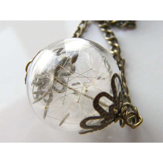 Dandelion Necklace, Glass Orb Necklace, Terrarium Pendant, Make a Wish, Bridesmaids Jewelry, Wishes on the Wind