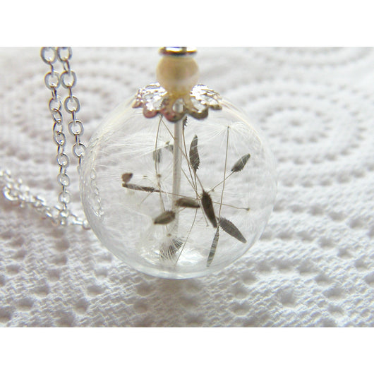 Dandelion Seed Glass Orb Terrarium Necklace, Bridesmaids Gifts, Make a Wish, Orb Necklace, Real Dandelion
