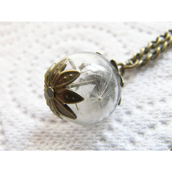 Real Dandelion Seeds Necklace Hand Blown Glass Orb Bead Globe