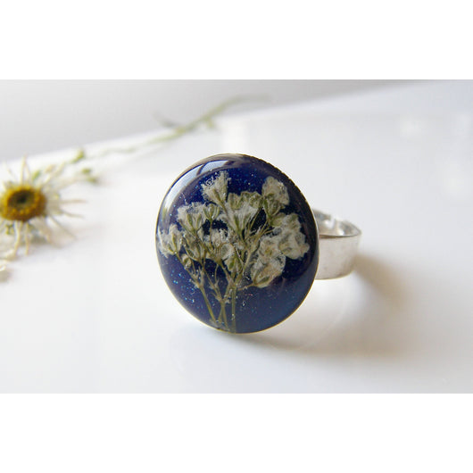 Blue Resin Ring, Pressed Flower Blue Ring, Gift for Women, Botanical Ring, Pressed Flower Jewelry