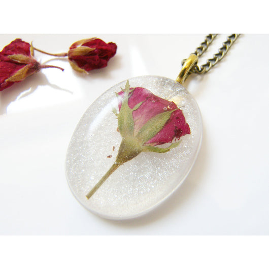 Real Red Rose Necklace, Pressed Rosebud, Real Flower Jewelry, Bridal Gift