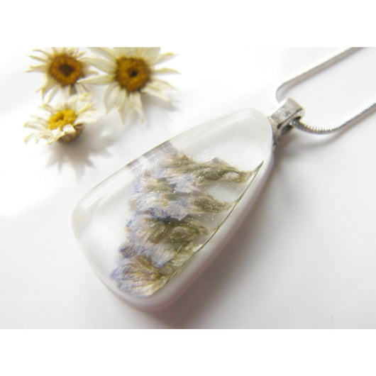Sea Lavender Pendant,  Pressed Flower, Botanical, Woodland, White Resin Necklace