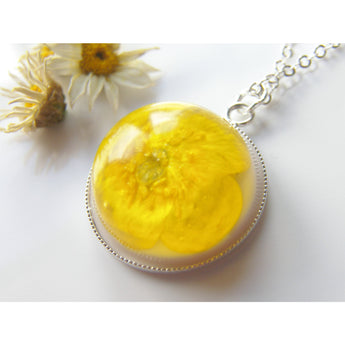 Buttercup Pendant, Real Flower, Botanical Necklace, Nature, Eco Friendly