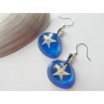 Real Starfish Blue Earrings - Nautical, Beach - STARFISH