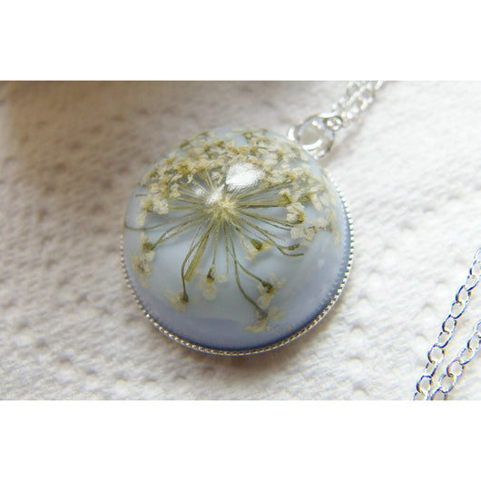 Snowflake Necklace, Winter Necklace, Gift for Mom, Real Flower Necklace, Flower Jewelry, Flower Necklace, Christmas Gift