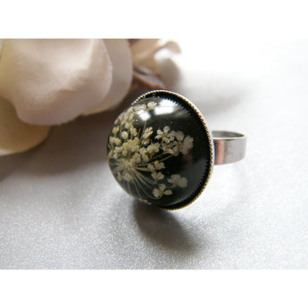 Eco Friendly Ring, Lace Flower, Pressed Flower Jewelry, Eco Chic, Christmas, Snowflake Ring