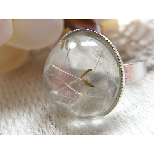 Real Dandelion Seeds Ring, Holiday Gift, Nature Specimen, Make a Wish, Eco Friendly