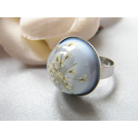 Snowflake Ring, Lace Flower, Pressed Flower Jewelry, Eco Chic, Christmas Gift, Ice Blue