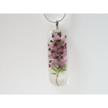 Heather Pendant, Real Flower, Botanical Necklace, Nature, Eco Friendly, Purple Scottish Heather