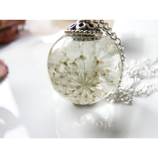 Queen Annes Lace Flower Resin Orb Sphere Necklace, Snowflake, Eco Friendly, Resin Globe Necklace, Gift for Women
