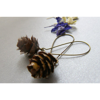 Pine Cone Earrings, Real Miniature, Woodland Earrings, Dangle Earrings, Bronze Earwires