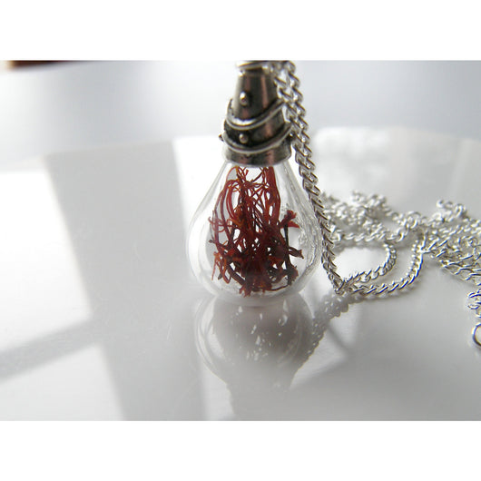 Real Saffron Necklace, Teardrop Pendant, Gift for Chef, Cook, Spicy