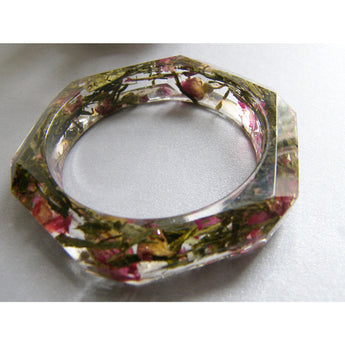 Tea and Roses Resin Botanical Bangle, Real Flower Jewelry, Eco Friendly, Pressed Flower Jewelry