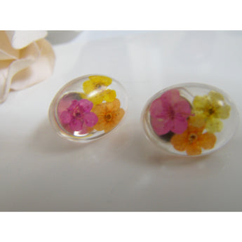 Real Flower Oval Stud Earrings, Resin Earrings, Flower Jewellery, Flower Studs