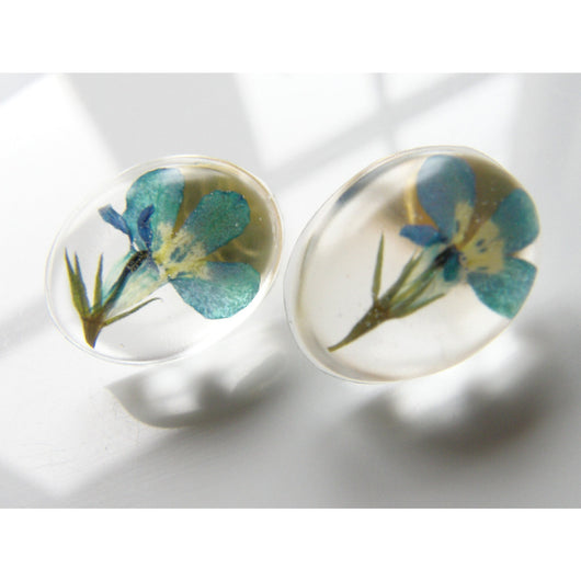 Lobelia Real Flower Earrings, Resin Flower Earrings, Pressed Flower Jewelry, Eco Resin