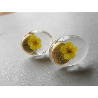 Yellow Flower Earrings, Resin Flower Earrings, Flower Jewelry, Eco Resin