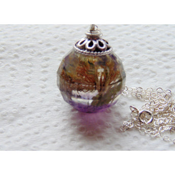 Multi Faceted Flower and Crushed Amethyst Pendant, Amethyst Resin Necklace, Flower Jewelry