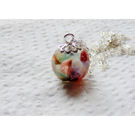 Gemstones in Resin Sphere Necklace, Dainty Orb Necklace, Gemstone, Eco Friendly, Eco Chic