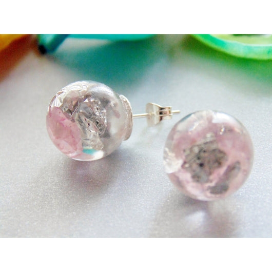 Rose Quartz Earrings, Natural Rose Quartz with Silver Flakes, Stud Orb Earrings, Handmade by Wishes on the Wind