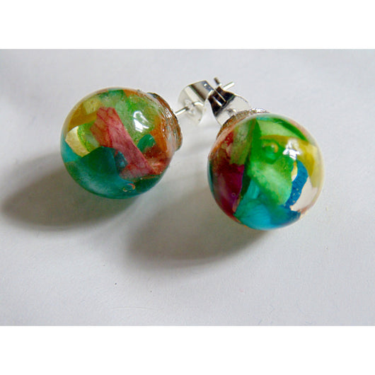 Rose Petal Earrings, Real Flower Earrings, Rainbow Jewelry, Flower Studs, Resin Studs, Eco Resin, Orb Earrings