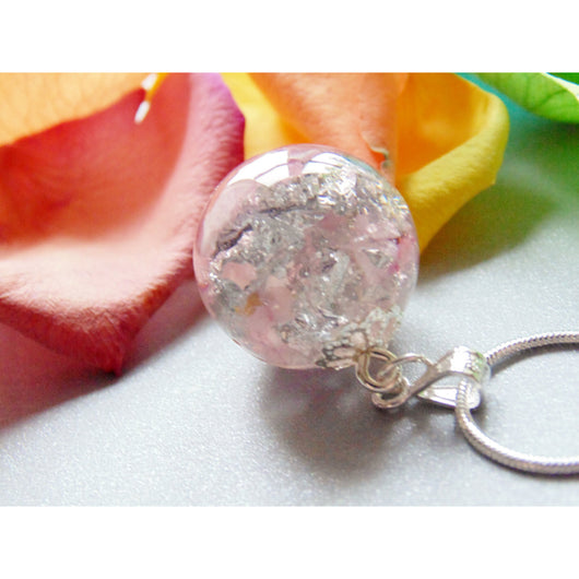 Rose Quartz with Silver Flake Resin Pendant, Resin Orb Necklace, Rose Quartz, Gemstone Pendant