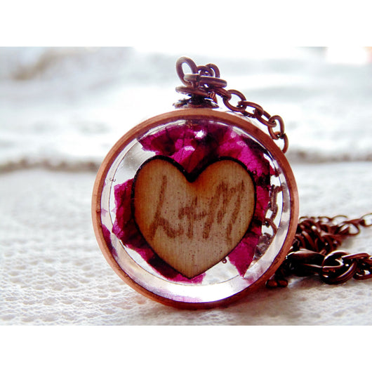 Copper Frame Pendant, Heart Necklace, Copper Bezel,  Nature, Whimsical, Eco Friendly, Love Necklace, Eco Resin Necklace