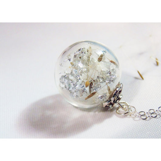 Real Dandelion Necklace, Make a Wish, Blown Glass Bead, Sparkle Globe,  Christmas Gift