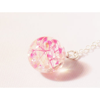 cherry blossom resin necklace