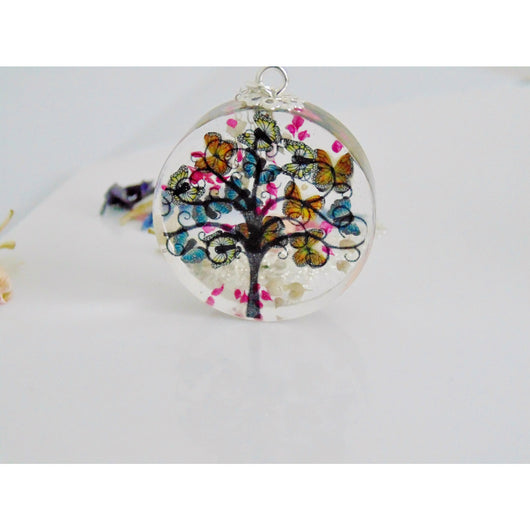 Butterfly Necklace, Tree Necklace, Faraway Tree, Tree Silhouette Pendant, Spring Tree, Real Flower Jewelry, Gift for Her