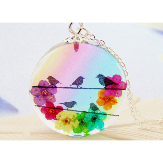 Eco Resin Bird Necklace, made with real flowers