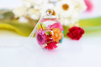 Rainbow Real Flower Necklace, Waterdrop Resin Pendant