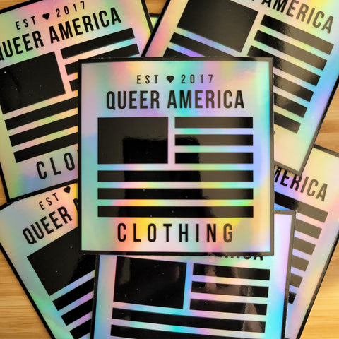 "Holographic Queer America Logo Sticker (3"") - Queer America Clothing"