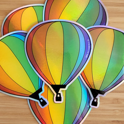 "Holographic Pride Hot Air Balloon Sticker (3"") - Queer America Clothing"