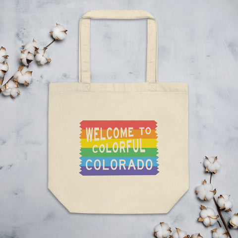 Colorful Colorado Pride Sign Eco Tote Bag - Queer America Clothing