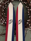 VERY RARE VINTAGE SNOW SKIS K2 COMPETITION FOUR CANADA RED WHITE BLUE TOP/BOTTOM 195cm NICE - LongSkisTruck