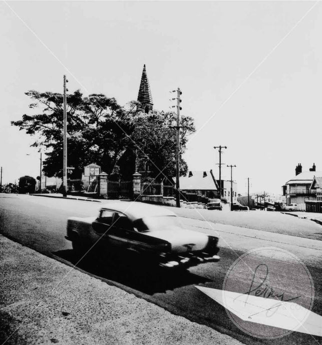Black and white photograph of Balmain street scene Sydney 1970, with vintage car printed to be framed.