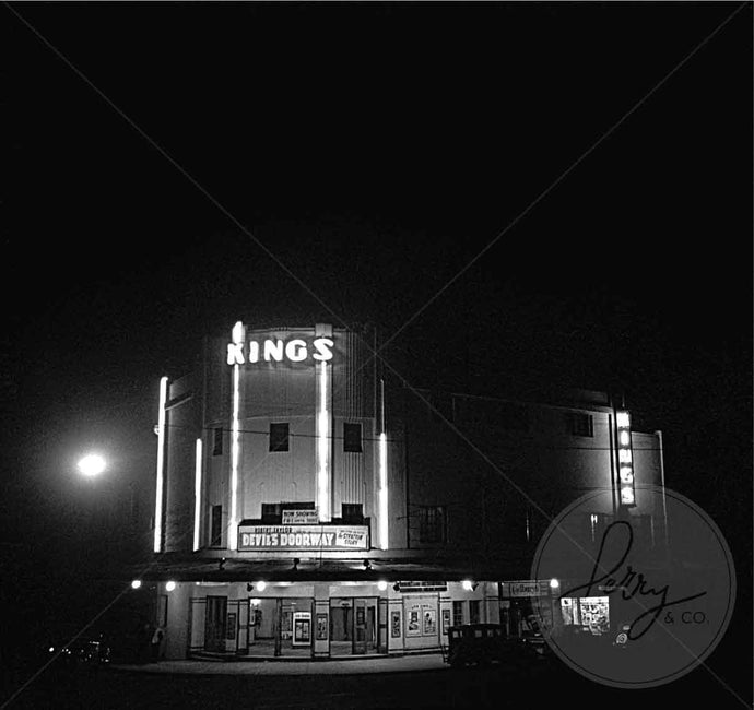 Photographic print of Kings Cinema Lindfield Sydney NSW Australia taken by David Perry 1980 historical image iconic landmark moody black and white night nighttime image shop buy online
