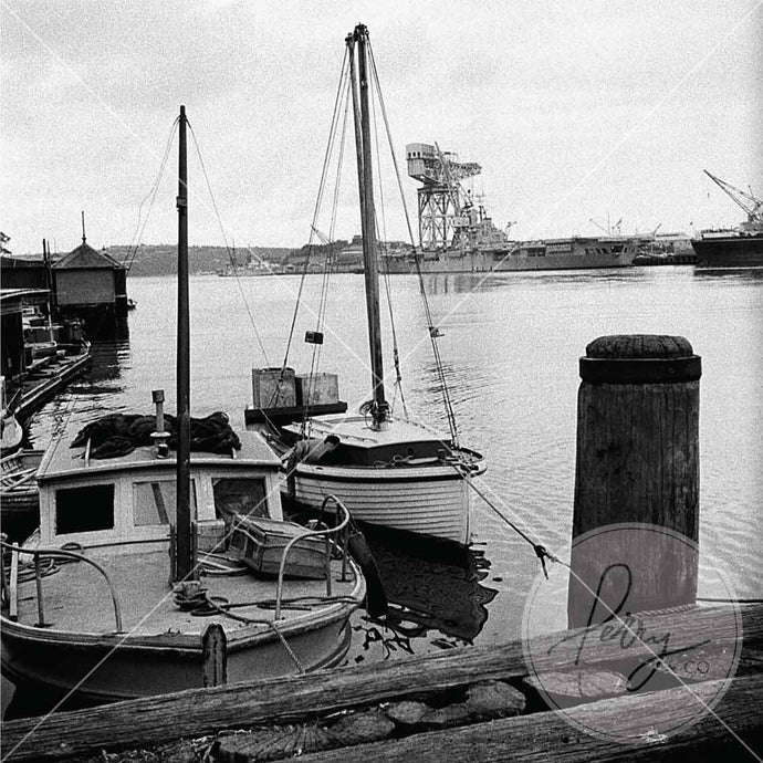 Photographic black and white vintage print of Woolloomooloo Bay Sydney NSW Australia taken by David Perry 1950s historical image iconic shop buy online frame decor interior decorating