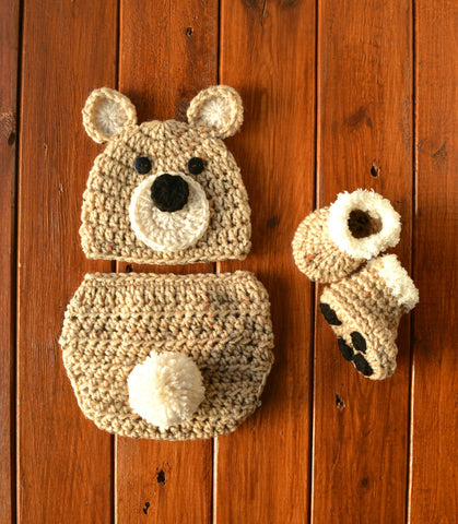 Crochet Newborn Baby Bear Outfit Set Costume Newborn Photo Outfit Boy - kgphotoprops