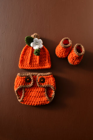 Crochet Newborn Baby Pumpkin Halloween Costume for Photo Prop Girl - kgphotoprops
