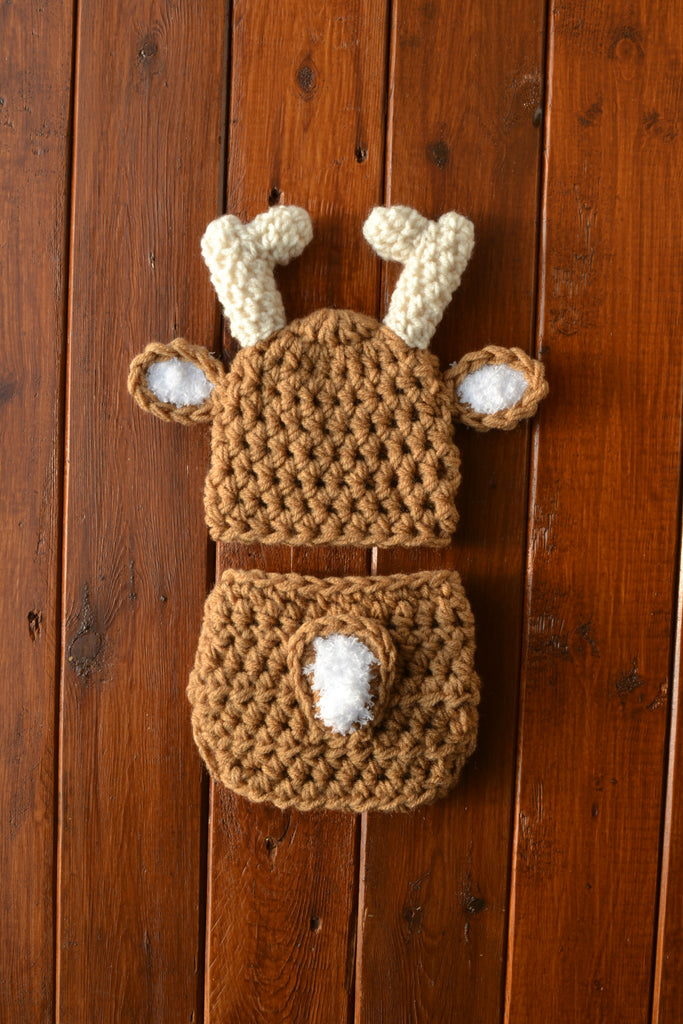 Warm Brown Baby Deer Outfit Newborn Photo Prop - kgphotoprops