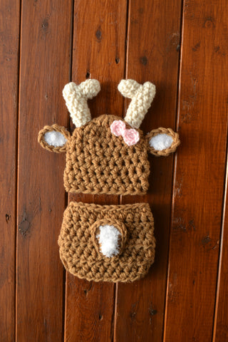 Crochet Baby Girl Deer Outfit Warm Brown Newborn Baby Photo Outfit - kgphotoprops