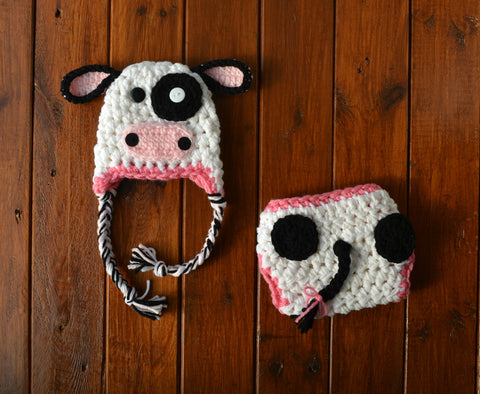 White Pink Black Newborn Baby Crochet Cow Set Baby Photo Prop - kgphotoprops