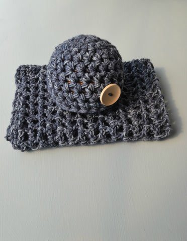 Newborn Hat And Blanket Set Soft Denim Heather Baby Stretch Blanket - kgphotoprops
