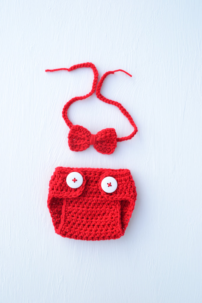 Crochet Baby Valentine Diaper Cover And Bow Tie Set Kgphotoprops