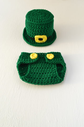Crochet St Patrick's Day Baby Outfit Leprechaun Hat Diaper Cover Handmade Photography Prop - kgphotoprops