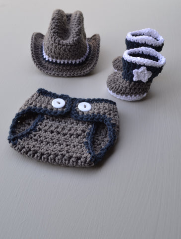 Newborn Baby Cowboy Hat Diaper Cover and Boots Set Outfit Baby Photography Prop - kgphotoprops