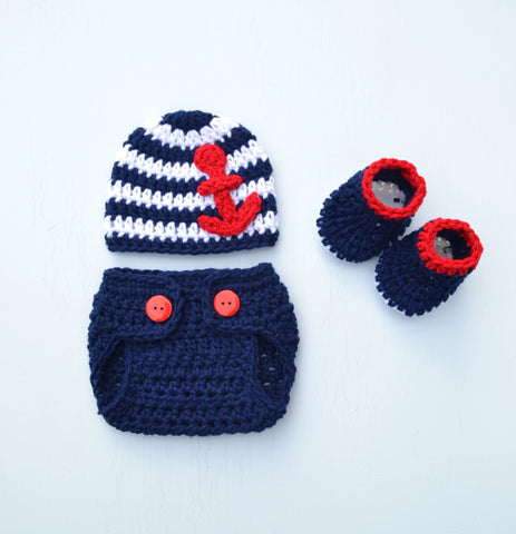 Crochet Newborn Baby Sailor Stripe Anchor Hat and Diaper Cover set