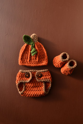 Pumpkin Newborn Baby Crochet Outfit Baby Halloween Photo Prop Outfit - kgphotoprops
